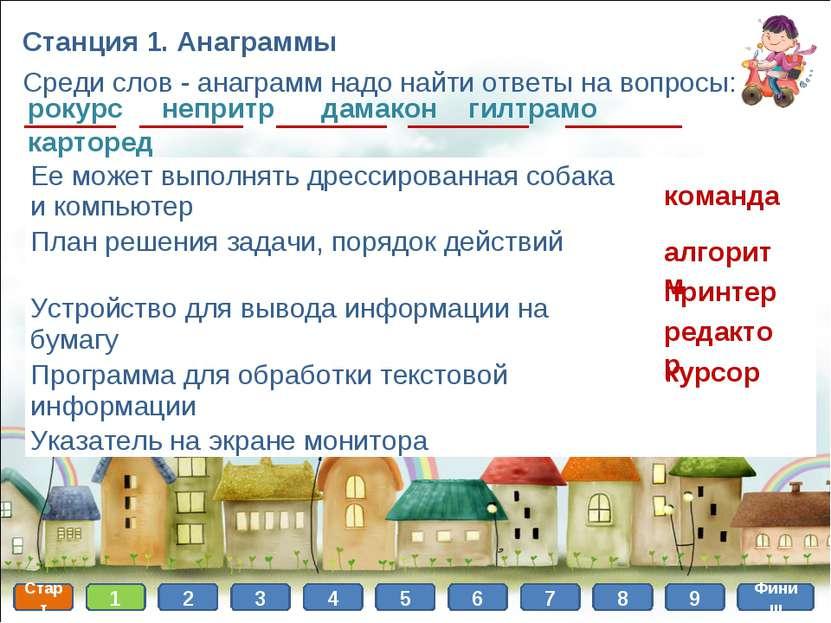 Станция 1. Анаграммы Среди слов - анаграмм надо найти ответы на вопросы: року...