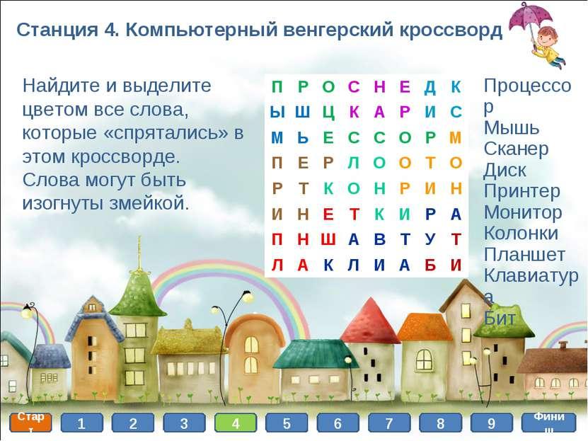 Станция 4. Компьютерный венгерский кроссворд Найдите и выделите цветом все сл...