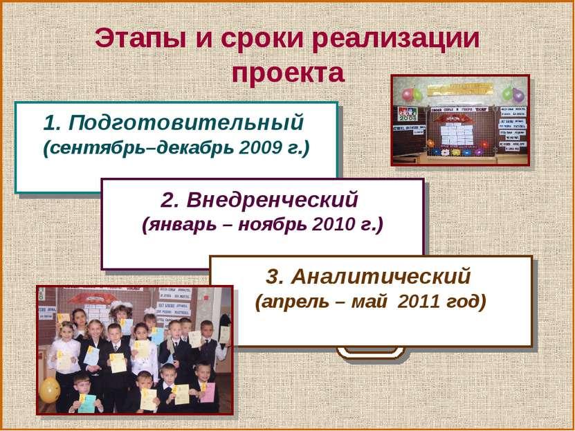 Этапы и сроки реализации проекта 1. Подготовительный (сентябрь–декабрь 2009 г...