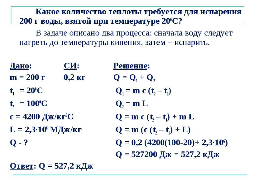 Количество теплоты при испарении (конденсации)