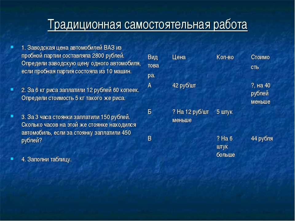 Традиционная самостоятельная работа 1. Заводская цена автомобилей ВАЗ из проб...