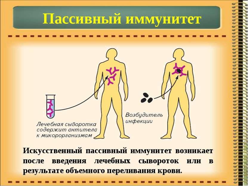 Пассивный иммунитет Искусственный пассивный иммунитет возникает после введени...