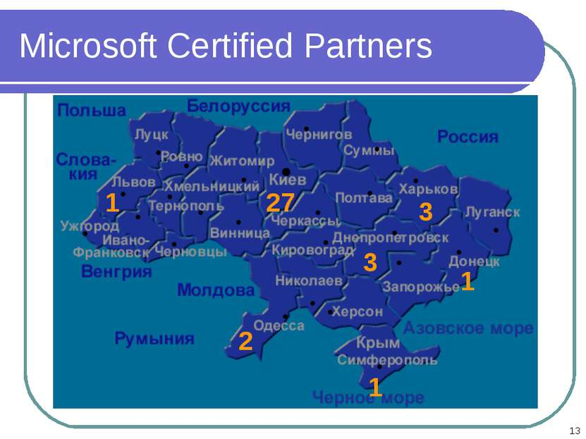 * Microsoft Certified Partners 27 1 3 3 1 2 1