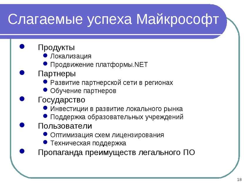 * Слагаемые успеха Майкрософт Продукты Локализация Продвижение платформы.NET ...