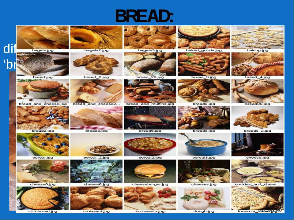 BREAD: Spend one minute writing down all of the different words you associate...
