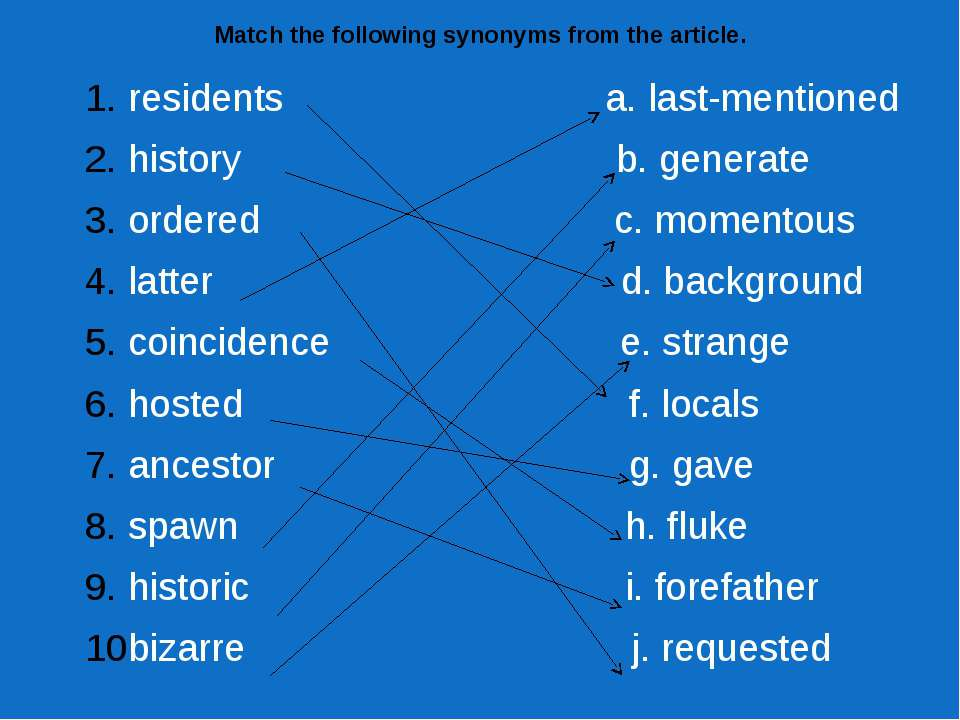 Match the following synonyms from the article. residents a. last-mentioned hi...