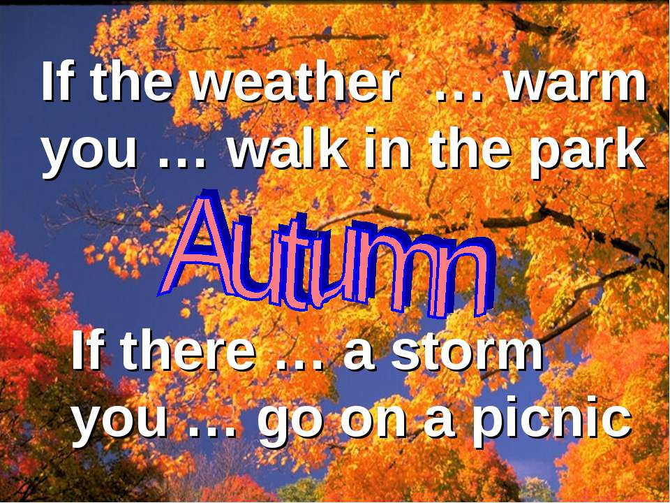 If the weather … warm you … walk in the park If there … a storm you … go on a...