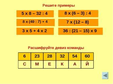 Й А К Е М С 60 54 32 28 23 6 Решите примеры Расшифруйте девиз команды 5 x 8 –...