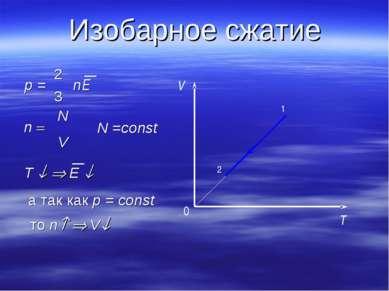 Изобарное сжатие 0 T V 2 1 N =const то n V T E а так как p = const n = N V p ...