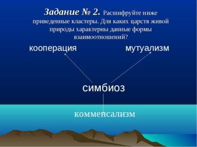 кооперация мутуализм симбиоз комменсализм Задание № 2. Расшифруйте ниже приве...