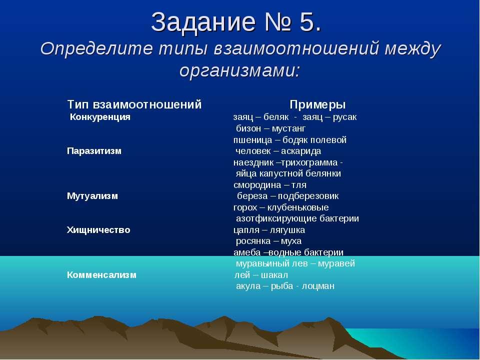 Задание № 5. Определите типы взаимоотношений между организмами: Тип взаимоотн...