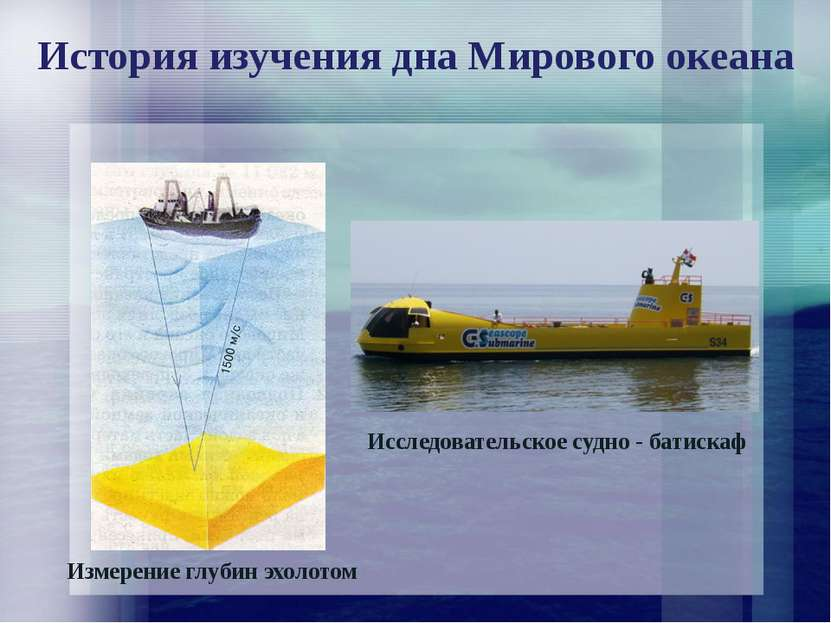 История изучения дна Мирового океана Измерение глубин эхолотом Исследовательс...