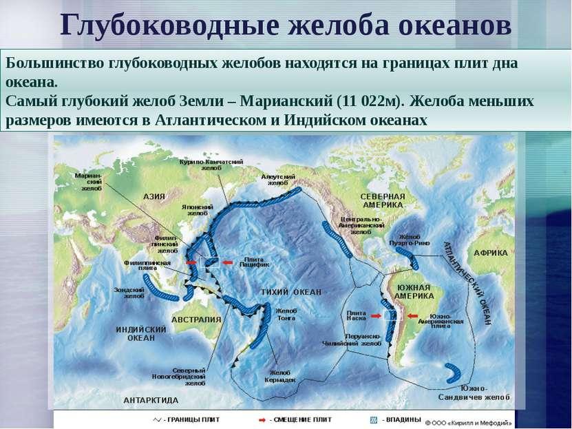 Большинство глубоководных желобов находятся на границах плит дна океана. Самы...