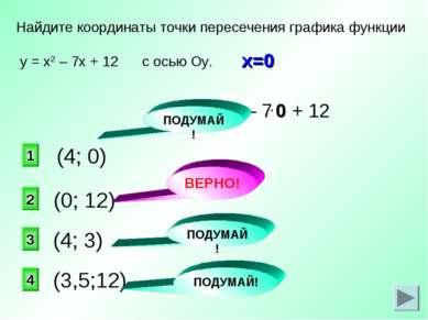у = х2 – 7х + 12 (0; 12) Найдите координаты точки пересечения графика функции...