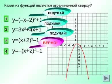 ВЕРНО! у=3х2+4х+1 4 2 1 3 Какая из функций является ограниченной сверху? у=(–...