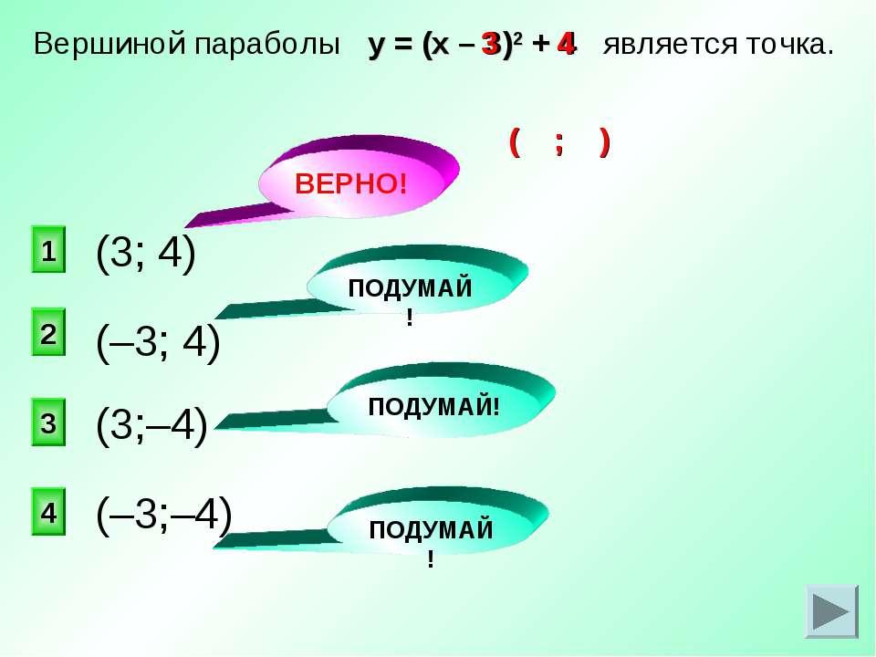 ВЕРНО! 1 2 4 3 Вершиной параболы у = (х – 3)2 + 4 является точка. (3; 4) ПОДУ...