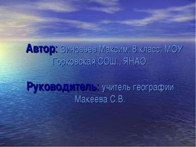 Автор: Зиновьев Максим; 8 класс; МОУ Горковская СОШ., ЯНАО. Руководитель: учи...