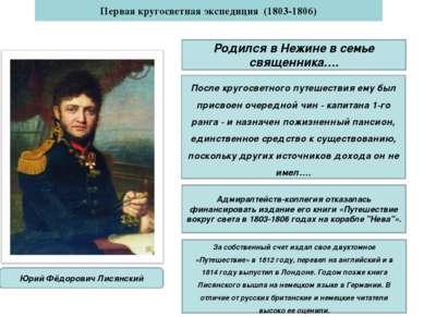 Юрий Фёдорович Лисянский Первая кругосветная экспедиция (1803-1806) Родился в...