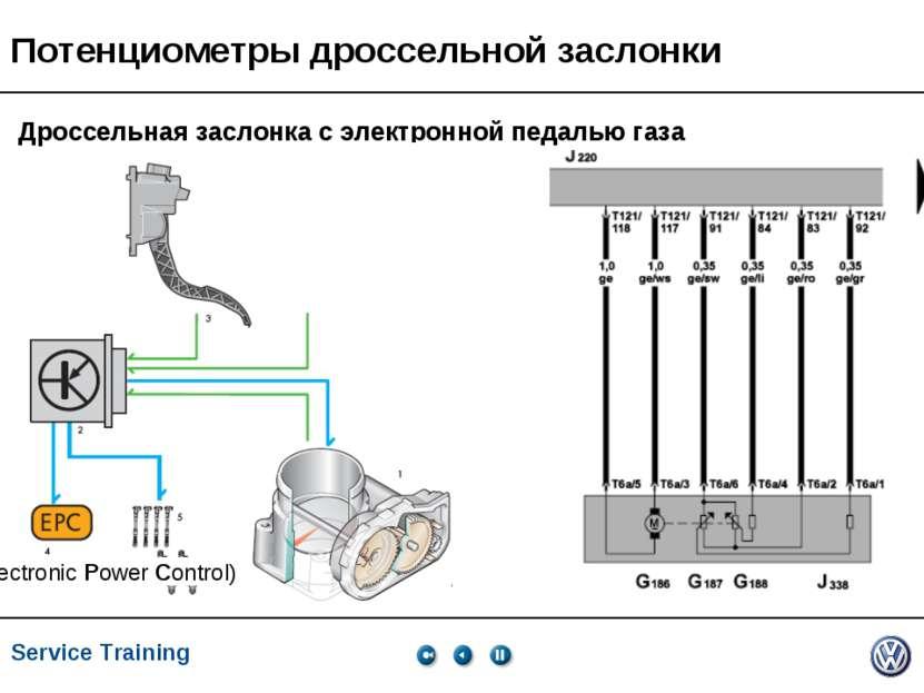 Service Training, VK-21, 05.2005 Потенциометры дроссельной заслонки Дроссельн...