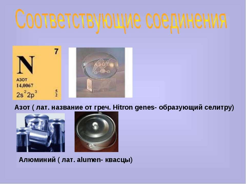 Азот ( лат. название от греч. Hitron genes- образующий селитру) Алюминий ( ла...