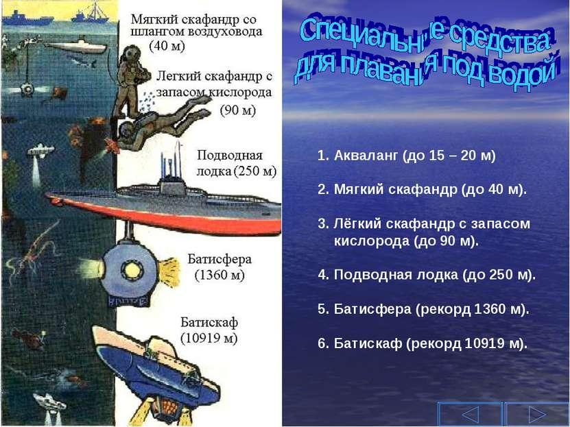 1. Акваланг (до 15 – 20 м) 2. Мягкий скафандр (до 40 м). 3. Лёгкий скафандр с...