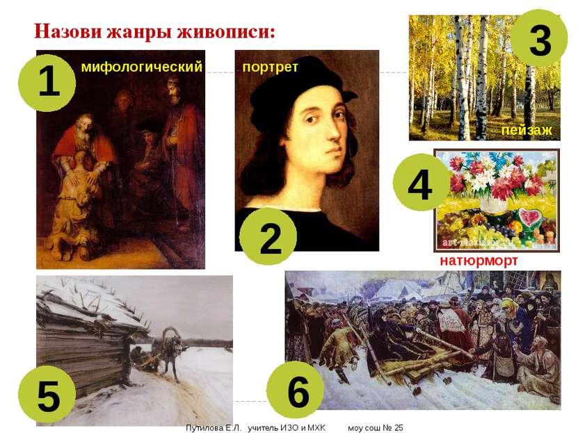 Назови жанры живописи: 1 2 3 4 5 6 мифологический портрет пейзаж натюрморт Пу...