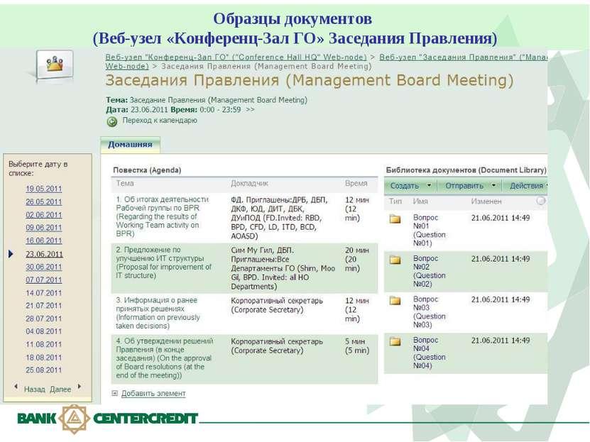 Образцы документов (Веб-узел «Конференц-Зал ГО» Заседания Правления)