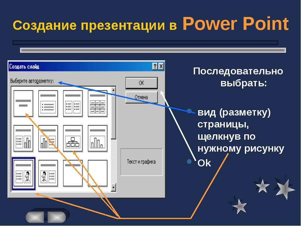 Создание презентации в Power Point Последовательно выбрать: вид (разметку) ст...