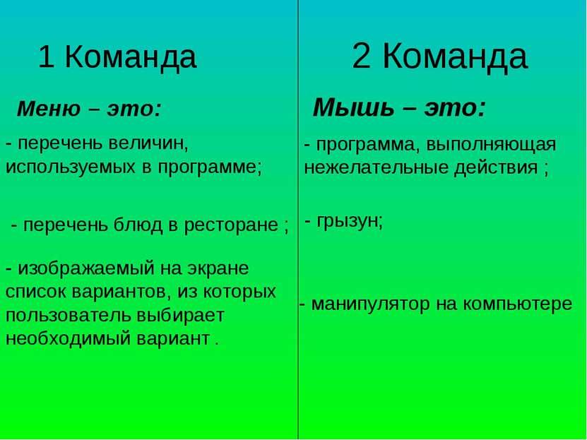 1 Команда Меню – это: 2 Команда - перечень величин, используемых в программе;...