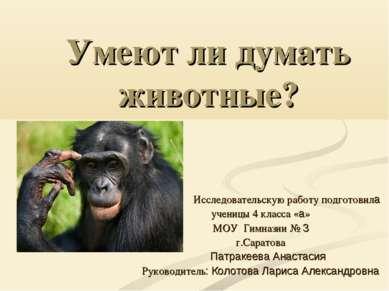 Умеют ли думать животные? Исследовательскую работу подготовила ученицы 4 клас...