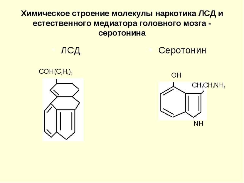 Химическое строение молекулы наркотика ЛСД и естественного медиатора головног...