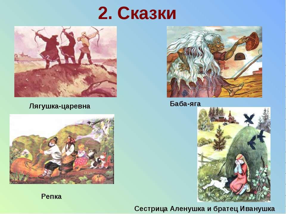 2. Сказки Сестрица Аленушка и братец Иванушка Лягушка-царевна Репка Баба-яга