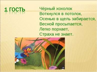 Чёрный хохолок Воткнулся в потолок, Осенью в щель забирается, Весной просыпае...