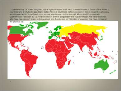 i Overview map Of States obligated by the Kyoto Protocol as of 2010. Green co...
