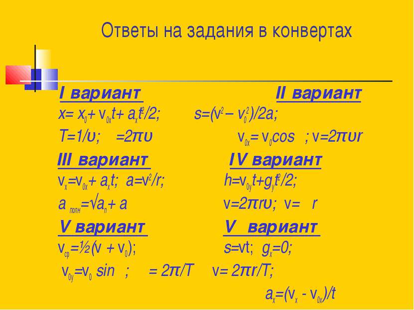 Ответы на задания в конвертах І вариант ІІ вариант x= x0+ v0хt+ aхt2/2; s=(v2...