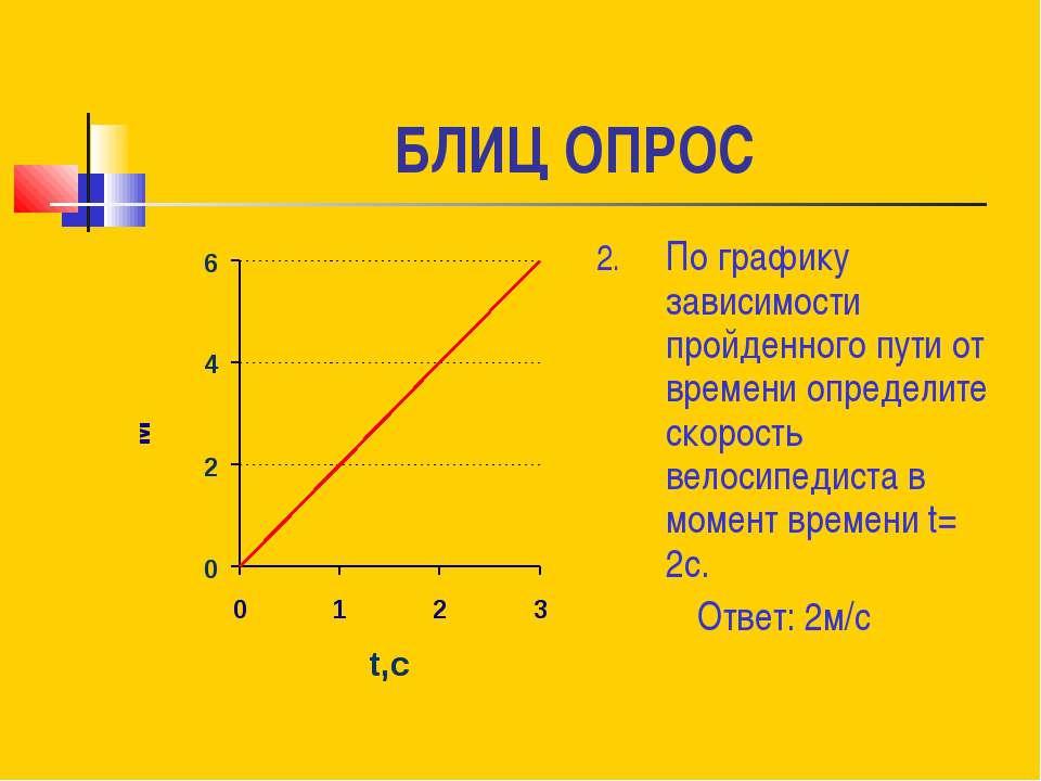 БЛИЦ ОПРОС По графику зависимости пройденного пути от времени определите скор...