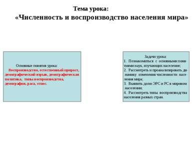 Тема урока: «Численность и воспроизводство населения мира» Задачи урока: 1. П...