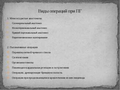 1. Межсосудистые анастомозы Спленоренальный анастомоз Мезентерикокавальный ан...