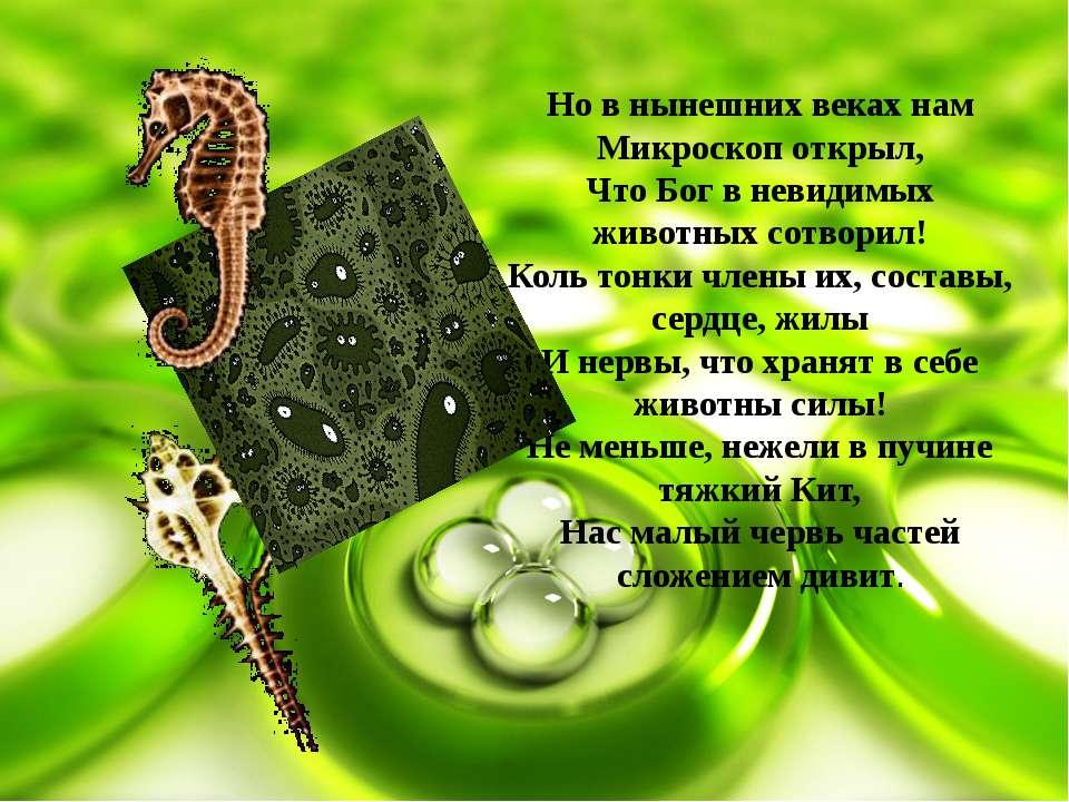 Но в нынешних веках нам Микроскоп открыл, Что Бог в невидимых животных сотвор...