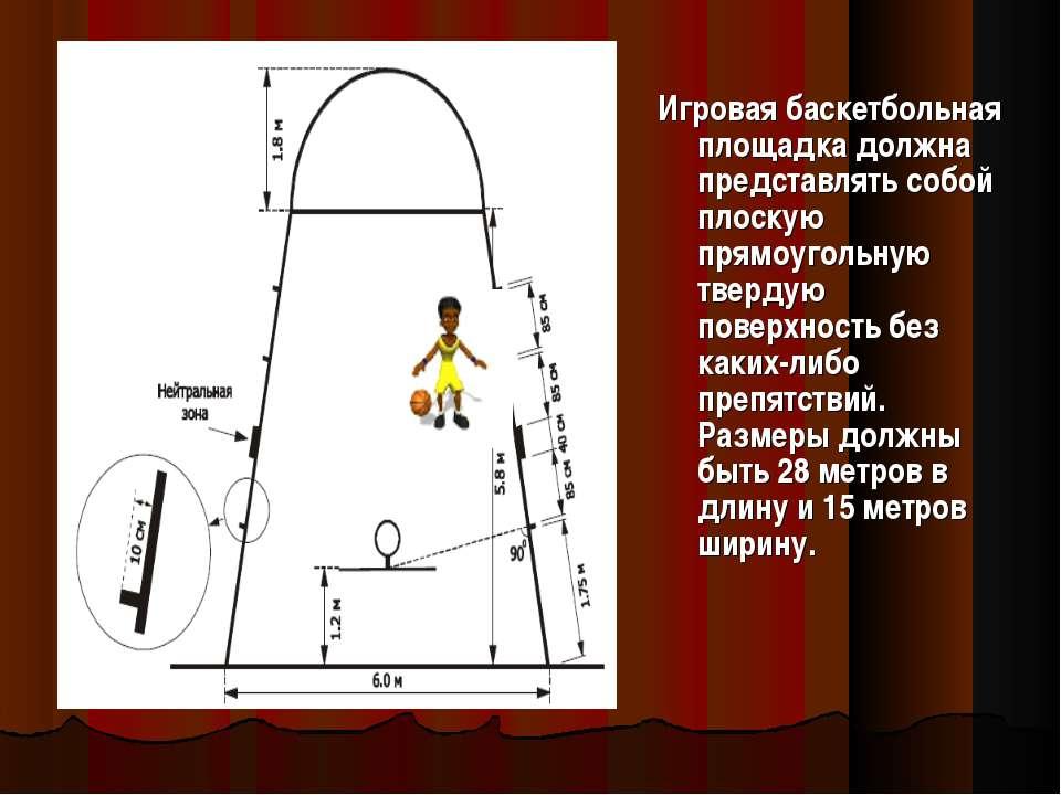 Игровая баскетбольная площадка должна представлять собой плоскую прямоугольну...