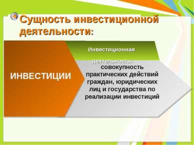 Сущность инвестиционной деятельности: ИНВЕСТИЦИИ Инвестиционная деятельность:...