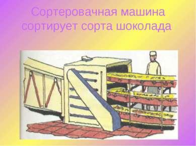 Сортеровачная машина сортирует сорта шоколада
