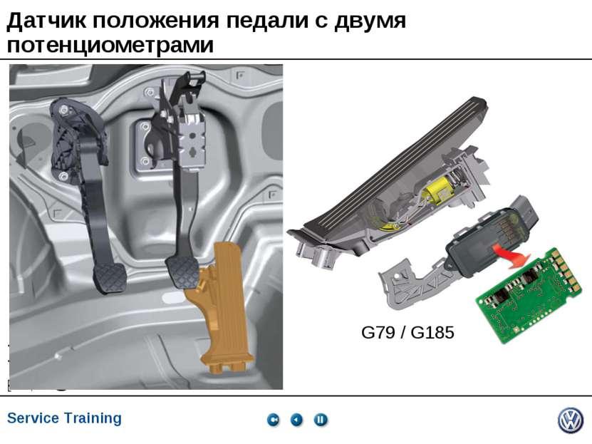Датчик положения педали с двумя потенциометрами G79 / G185 Service Training *