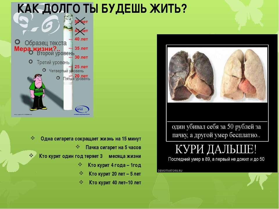 Одна сигарета сокращает жизнь на 15 минут Пачка сигарет на 5 часов Кто курит ...