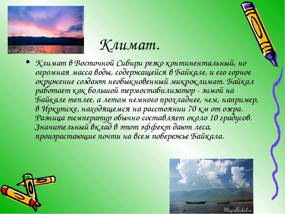 Климат. Климат в Восточной Сибири резко континентальный, но огромная масса во...