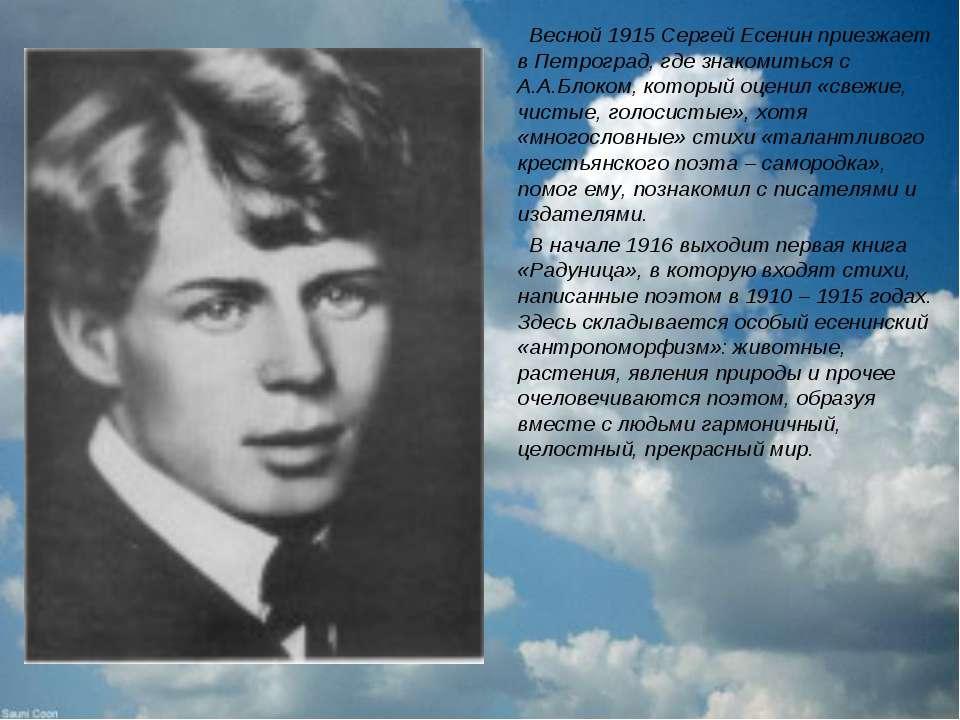 Весной 1915 Сергей Есенин приезжает в Петроград, где знакомиться с А.А.Блоком...