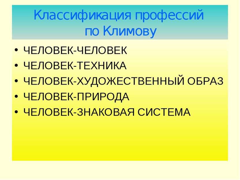 Классификация профессий по Климову ЧЕЛОВЕК-ЧЕЛОВЕК ЧЕЛОВЕК-ТЕХНИКА ЧЕЛОВЕК-ХУ...
