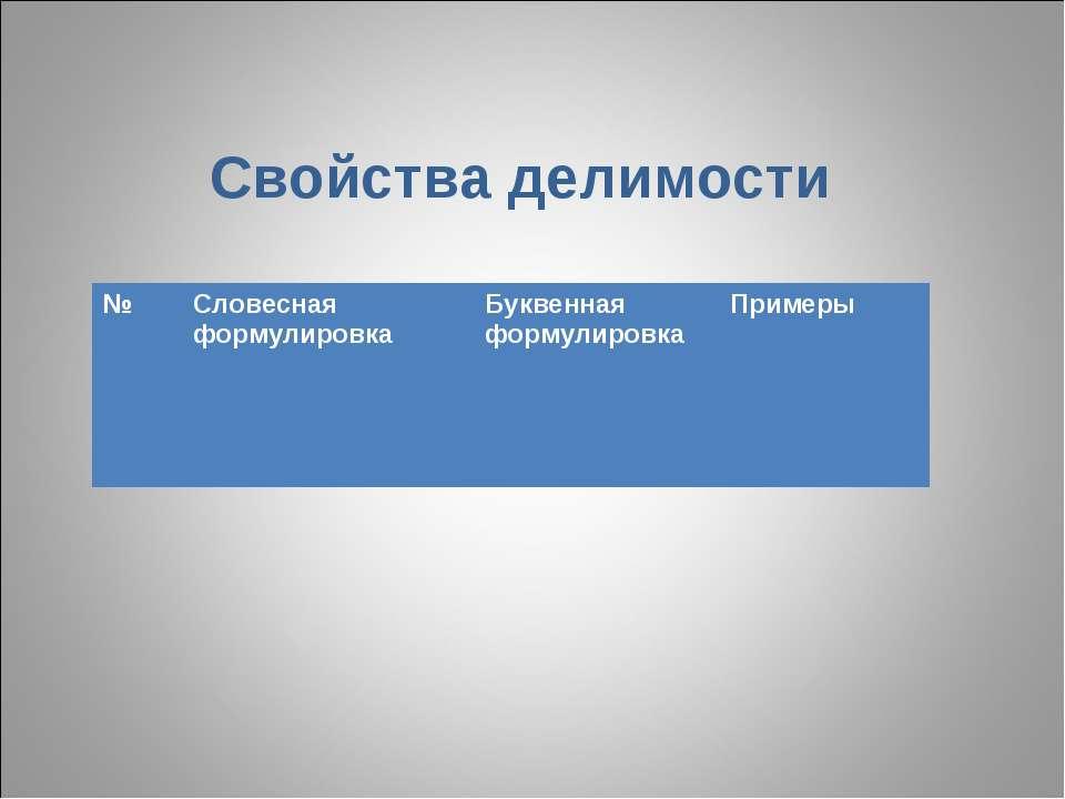 Свойства делимости № Словесная формулировка Буквенная формулировка Примеры