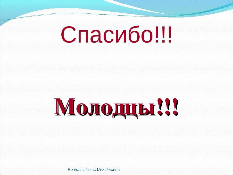Спасибо!!! Молодцы!!! Бондарь Ирина Михайловна Бондарь Ирина Михайловна