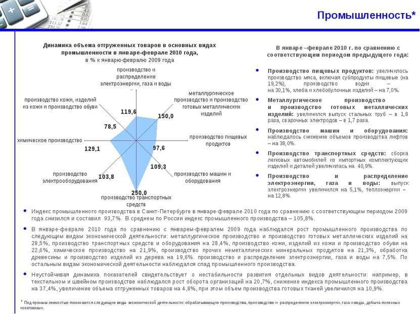 Промышленность* Индекс промышленного производства в Санкт-Петербурге в январе...